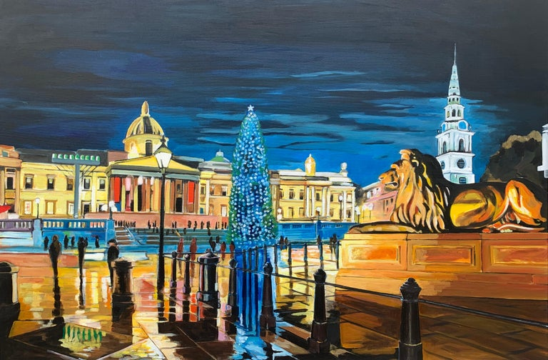 Contemporary Realism of Trafalgar Square in London by Collectible British Artist - Impressionist Painting by Angela Wakefield