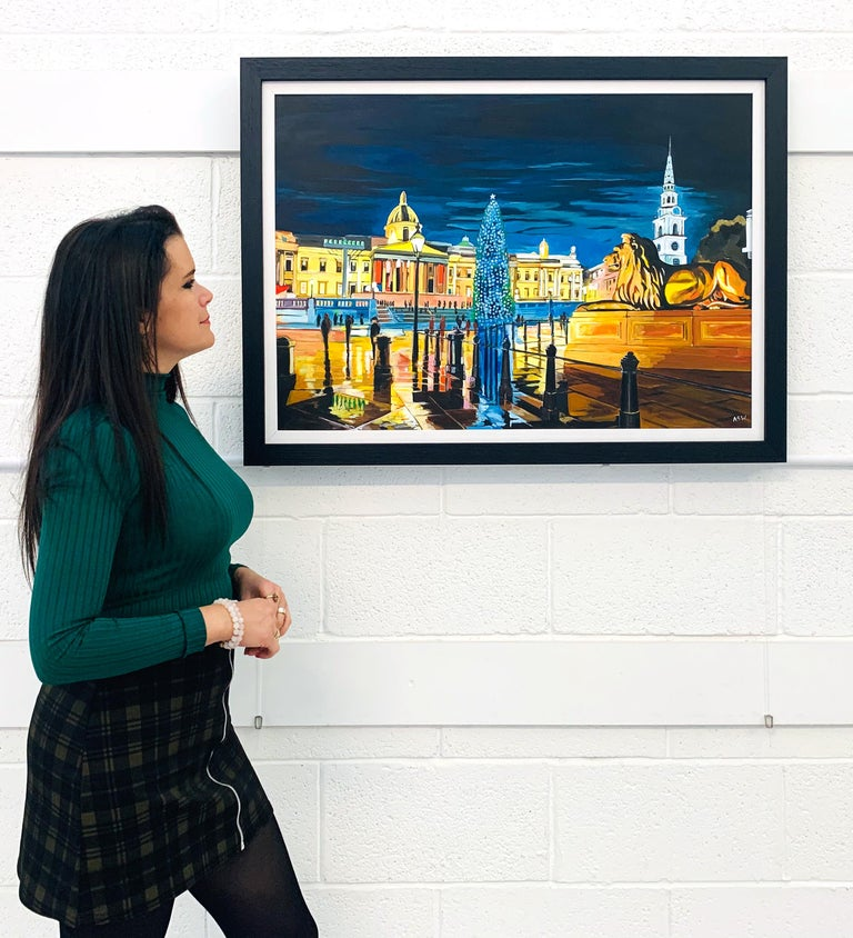 Contemporary Realism of Trafalgar Square in London by Collectible British Artist - Painting by Angela Wakefield