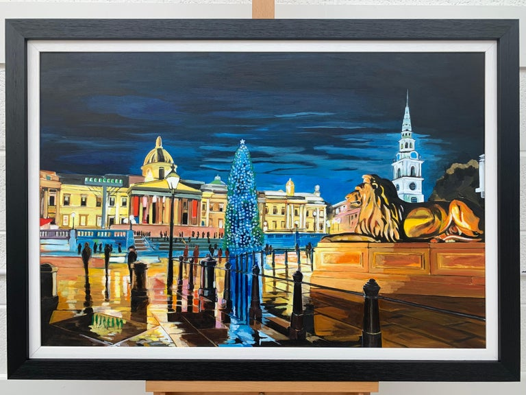 Contemporary Realism of Trafalgar Square in London by Collectible British Artist - Black Figurative Painting by Angela Wakefield