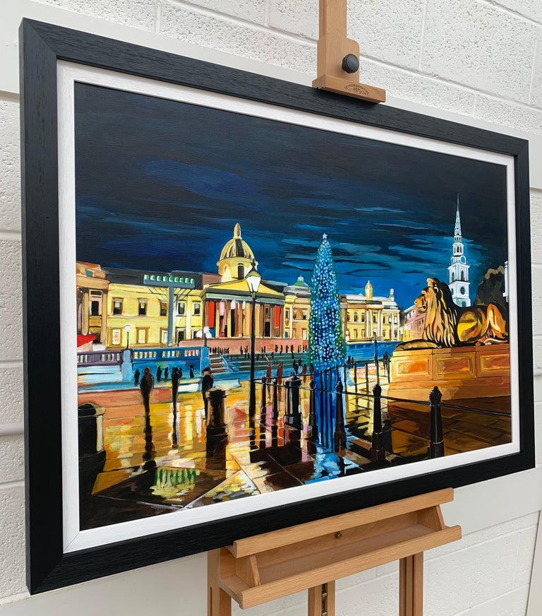 Contemporary Realism of Trafalgar Square & St Michaels Tower in London at Night by Collectible British Artist. Angela Wakefield has twice been on the front cover of 'Art of England' and featured in ARTnews, attracting international attention and