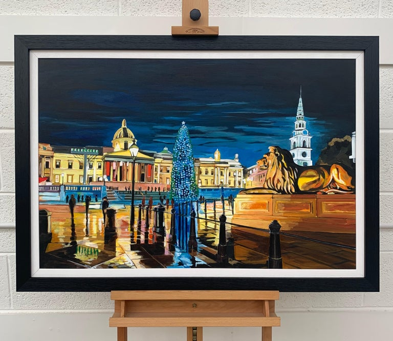 Contemporary Realism of Trafalgar Square in London by Collectible British Artist For Sale 1