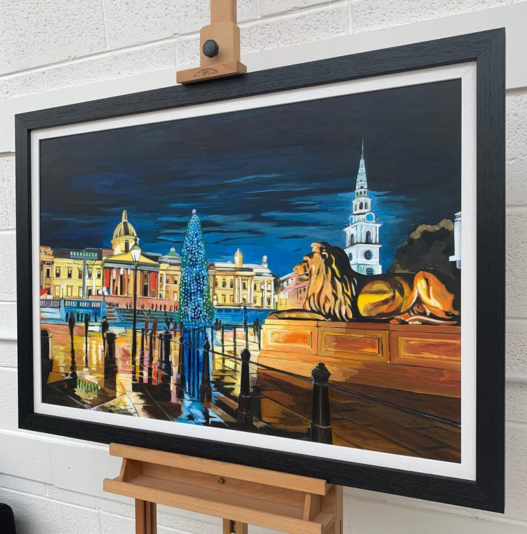 Contemporary Realism of Trafalgar Square in London by Collectible British Artist For Sale 2