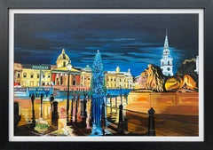 Contemporary Realism of Trafalgar Square in London by Collectible British Artist