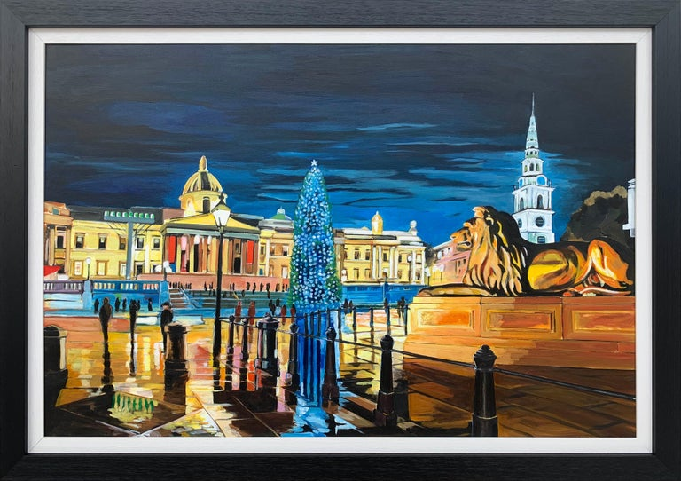 Angela Wakefield Figurative Painting - Contemporary Realism of Trafalgar Square in London by Collectible British Artist