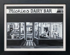 Dairy Bar Black & White American Cafe Diner Scene by British Urban Artist