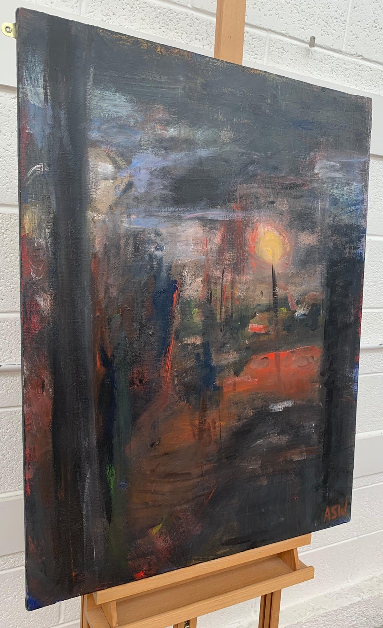 Dark & Atmospheric Abstract Expressionist Art by Contemporary British Painter - Painting by Angela Wakefield