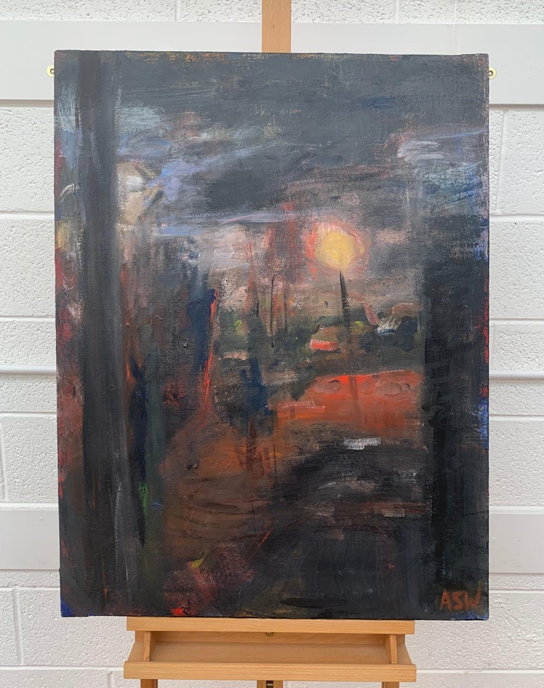 Dark & Atmospheric Abstract Expressionist Art by Contemporary British Painter - Gray Landscape Painting by Angela Wakefield