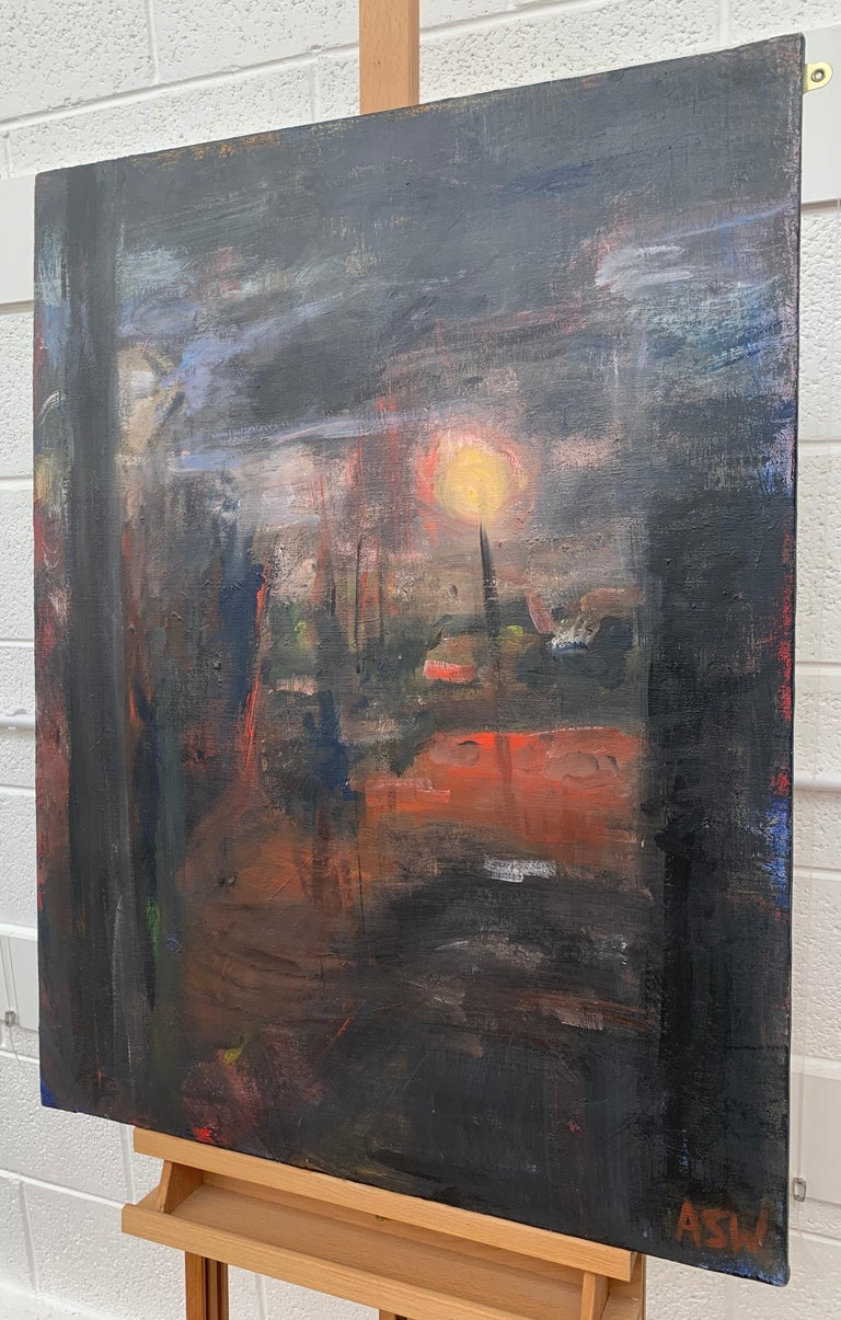Dark & Atmospheric Abstract Expressionist Painting by Contemporary British Painter Angela Wakefield - a rare early work. Entitled 'Accrington #2', this painting is from an intense body of seminal abstract work that formed the very foundations of her