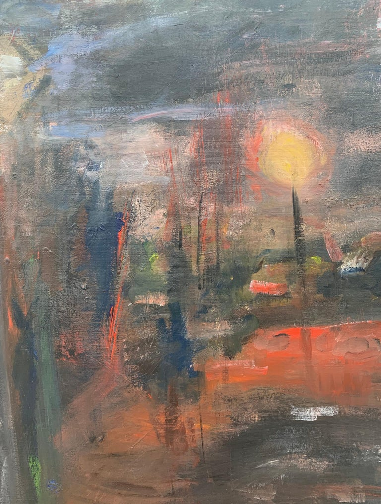 Dark & Atmospheric Abstract Expressionist Art by Contemporary British Painter For Sale 1