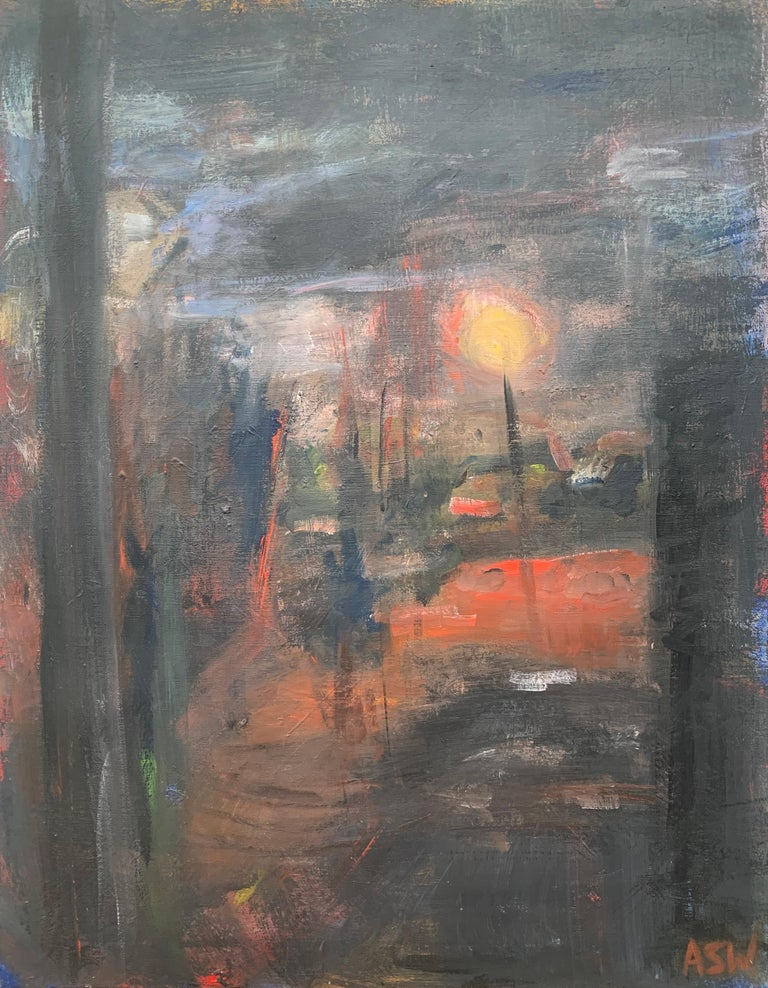 Angela Wakefield Landscape Painting - Dark & Atmospheric Abstract Expressionist Art by Contemporary British Painter