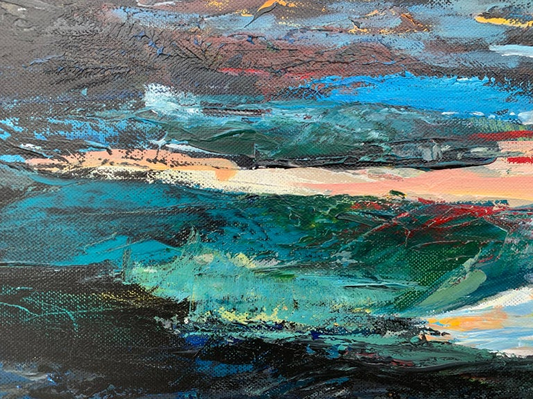 Dark Panoramic Expressive Abstract Mountain Landscape Contemporary British Art For Sale 1