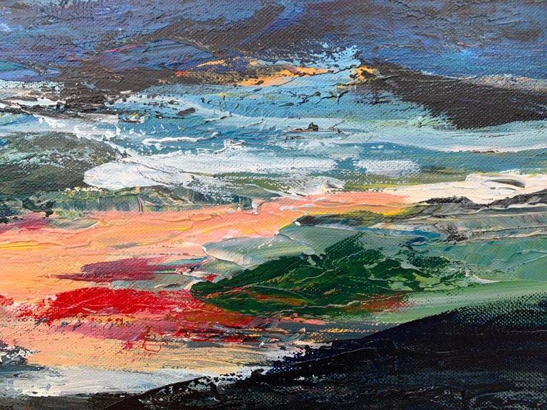 Dark Panoramic Expressive Abstract Mountain Landscape Contemporary British Art For Sale 2