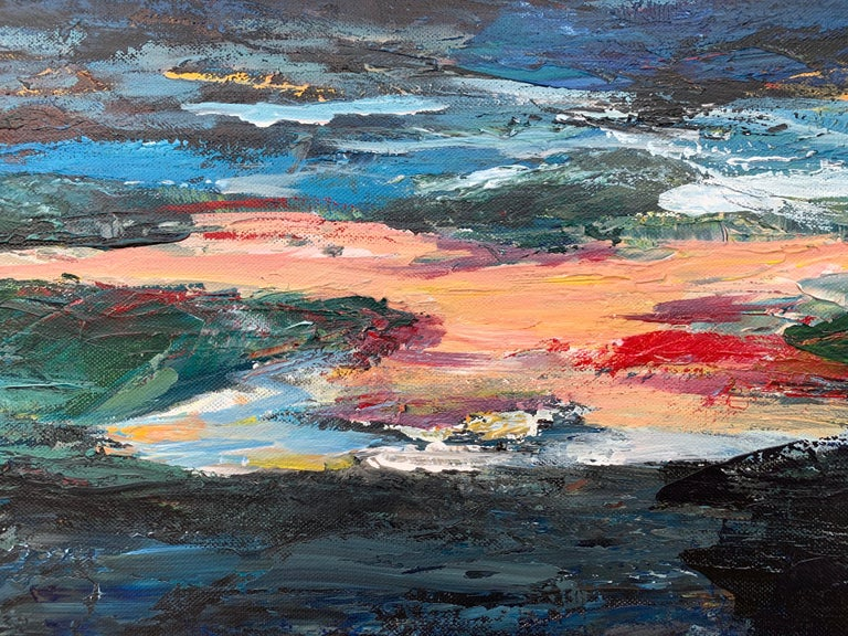Dark Panoramic Expressive Abstract Mountain Landscape Contemporary British Art For Sale 4