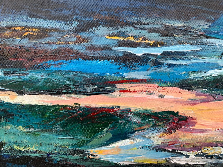 Dark Panoramic Expressive Abstract Mountain Landscape Contemporary British Art For Sale 3