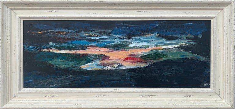 Angela Wakefield Landscape Painting - Dark Panoramic Expressive Abstract Mountain Landscape Contemporary British Art
