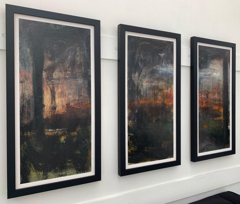 Triptych Abstract Forest Trees Landscape Painting by British Urban Artist - Brown Abstract Painting by Angela Wakefield