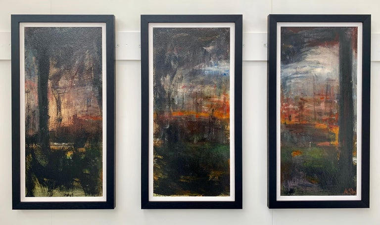Early Triptych Abstract Trees Forest Landscape Painting by British Urban Artist. This rare early work is from an intense body of abstract work that formed the very foundations of her output as a professional artist. Art critics regard these powerful