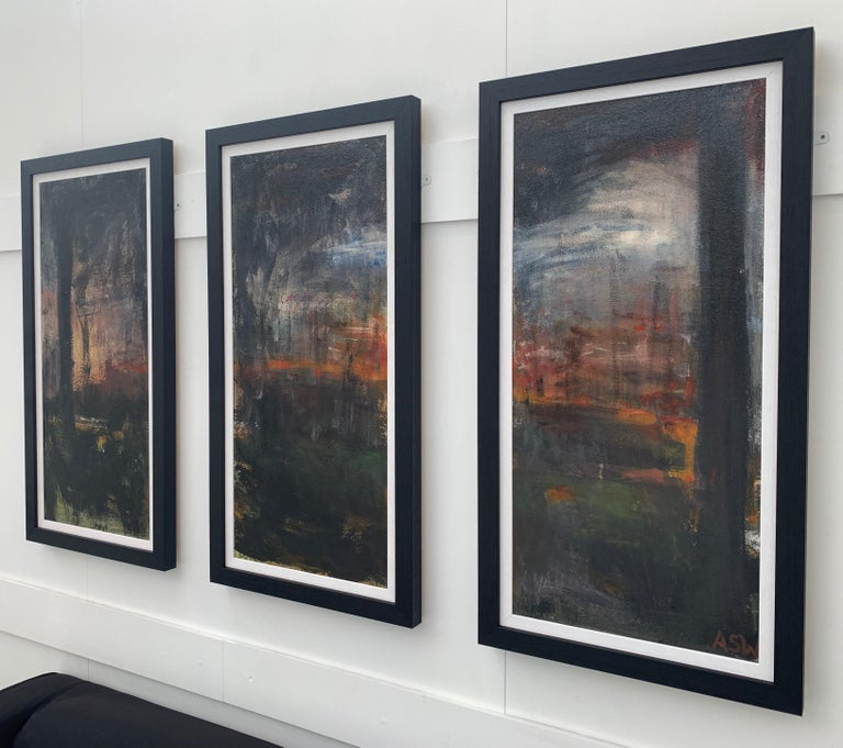 Triptych Abstract Forest Trees Landscape Painting by British Urban Artist For Sale 1