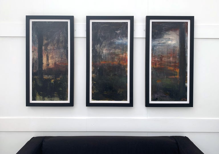 Triptych Abstract Forest Trees Landscape Painting by British Urban Artist For Sale 4