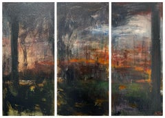 Early Triptych Abstract Forest Landscape Painting by British Urban Artist