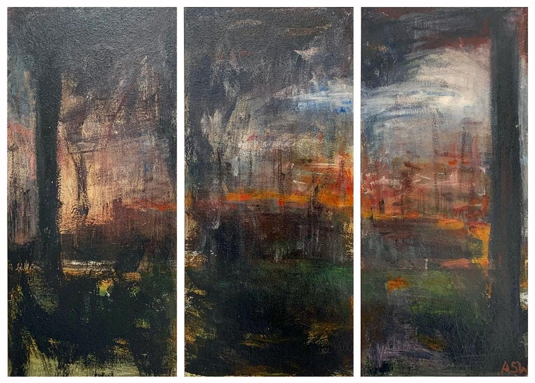 Angela Wakefield Abstract Painting - Triptych Abstract Forest Trees Landscape Painting by British Urban Artist