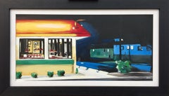 Edward Hopper American Diner Painting by Leading British Urban Landscape Artist