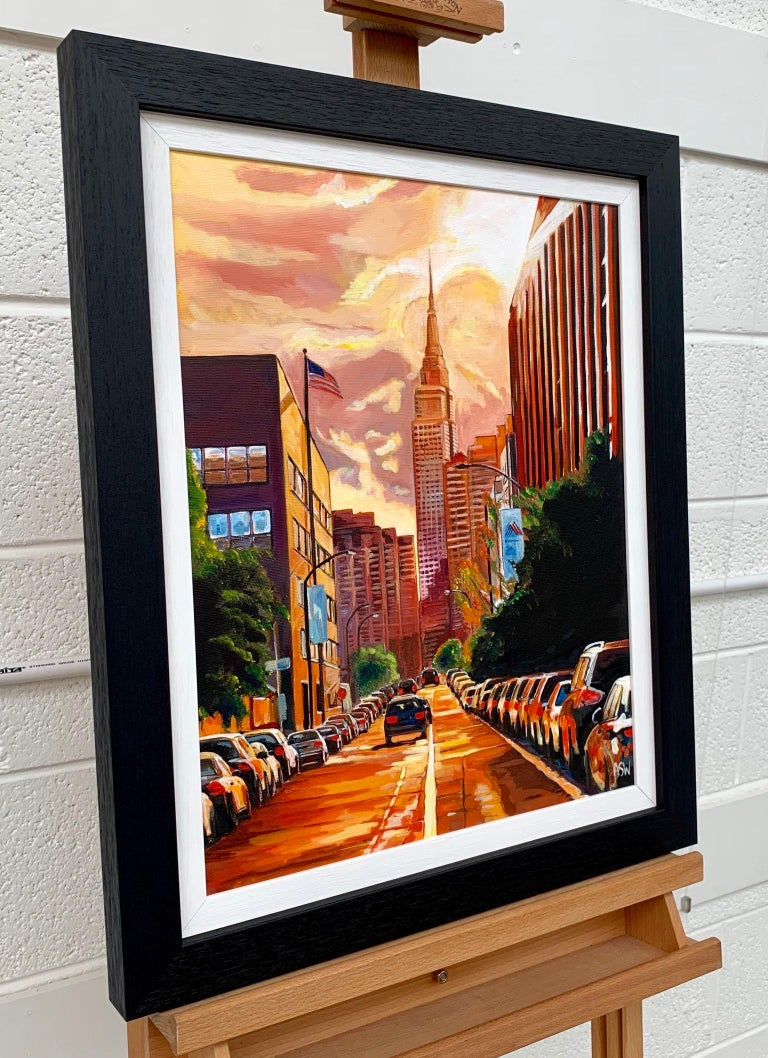 Empire State Building Sunset New York Cityscape NYC by English Landscape Artist - Post-Modern Painting by Angela Wakefield