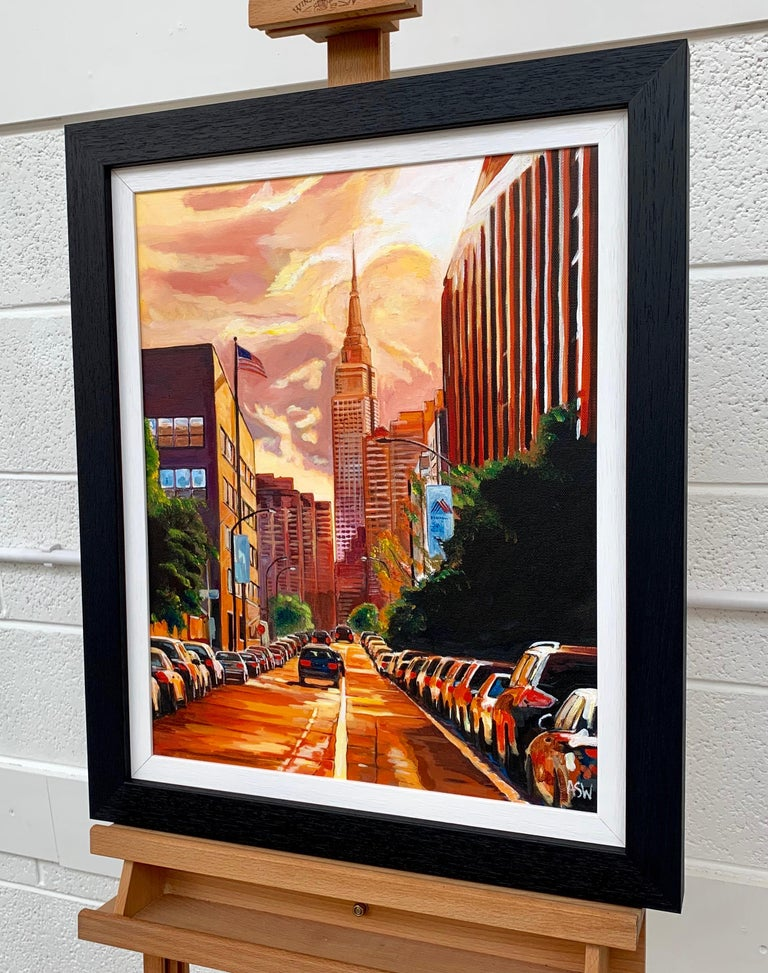 Empire State Building Sunset New York Cityscape NYC by English Landscape Artist - Beige Landscape Painting by Angela Wakefield
