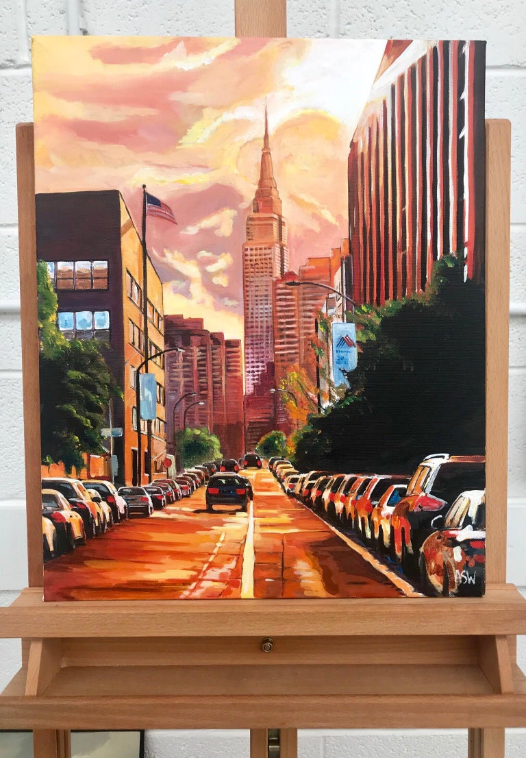 Empire State Building Sunset New York Cityscape NYC by English Landscape Artist - Painting by Angela Wakefield