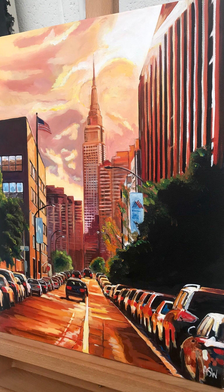 Empire State Building Sunset New York Cityscape NYC by English Landscape Artist - Realist Painting by Angela Wakefield
