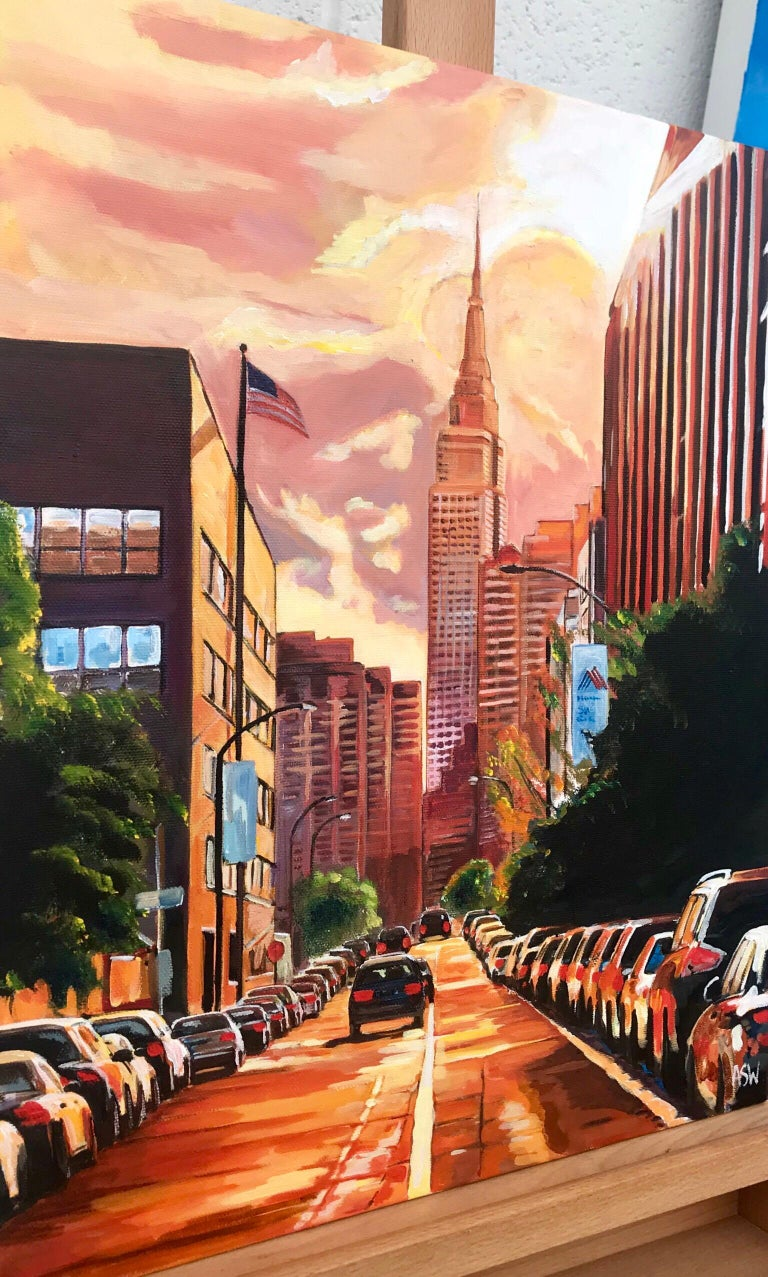 Empire State Building Sunset New York Cityscape NYC by English Landscape Artist - Black Landscape Painting by Angela Wakefield