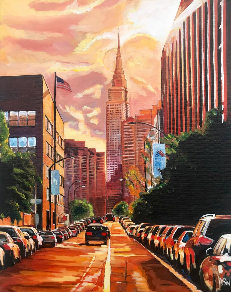 Angela Wakefield Landscape Painting - Empire State Building Sunset New York Cityscape NYC by English Landscape Artist