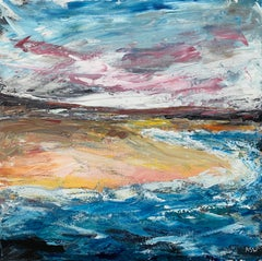 Expressive Abstract English Shoreline Seascape by Contemporary British Artist