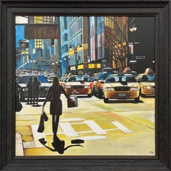 Female Figure Shopping in New York City Sunshine by Contemporary British Artist