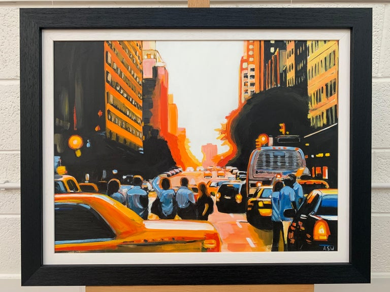Figures at Manhattan Henge Sunset New York City by Leading British Urban Artist - Black Figurative Painting by Angela Wakefield