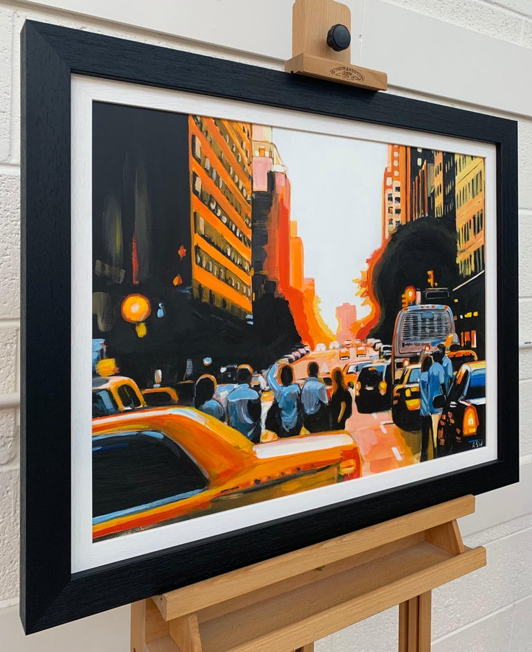 Figures at Manhattan Henge Sunset New York City by Leading British Urban Artist - Realist Painting by Angela Wakefield
