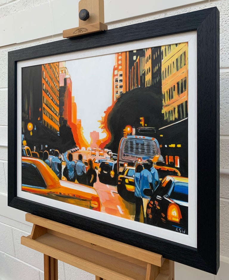 Figurative Painting of People admiring Manhattan Henge Sunset New York City NYC with dramatic light and colours by Leading British Urban Artist, Angela Wakefield.   Art measures 24 x 18 inches Frame measures 29 x 23 inches  Angela Wakefield has