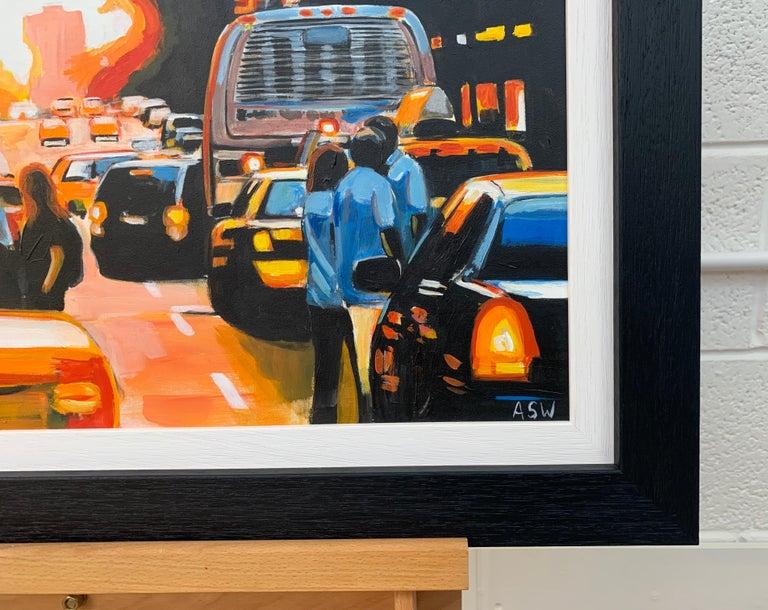 Figures at Manhattan Henge Sunset New York City by Leading British Urban Artist For Sale 4