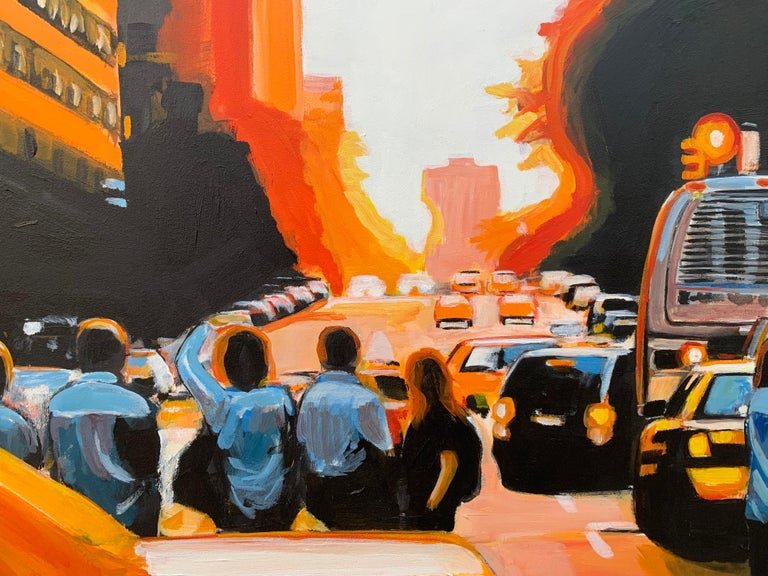 Figures at Manhattan Henge Sunset New York City by Leading British Urban Artist For Sale 11