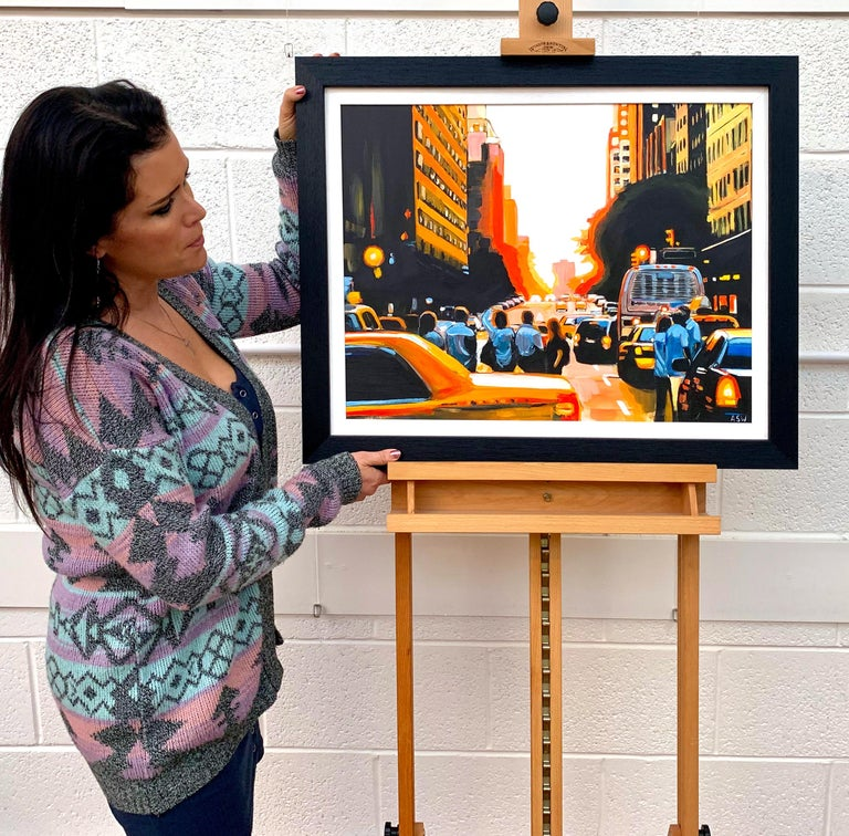 Figures at Manhattan Henge Sunset New York City by Leading British Urban Artist - Painting by Angela Wakefield