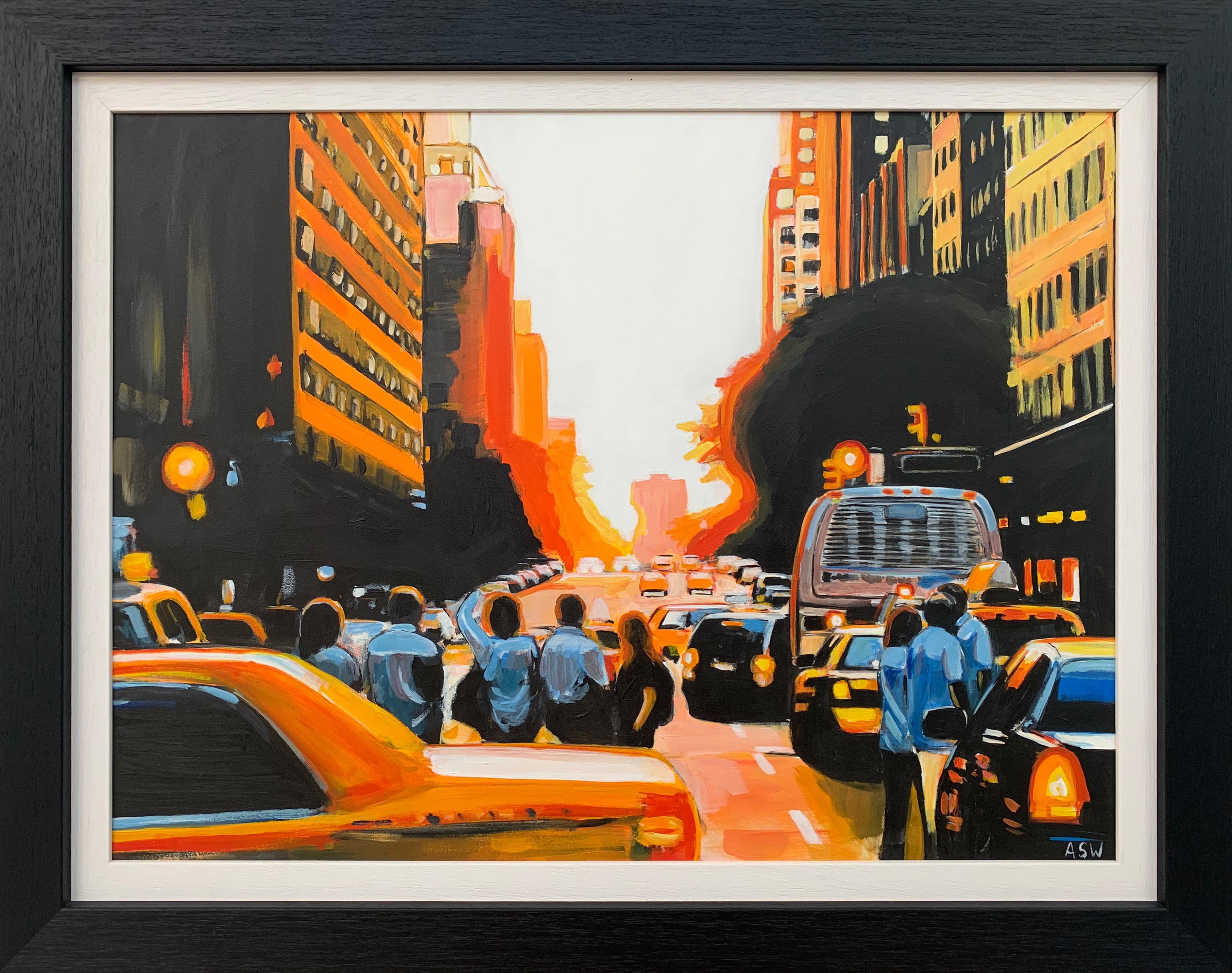 Figures at Manhattan Henge Sunset New York City by Leading British Urban Artist