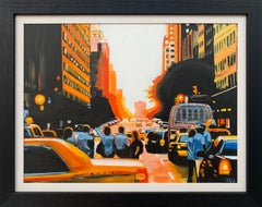 Figures at Manhattan Henge Sunset New York City by Leading British Urban Artist