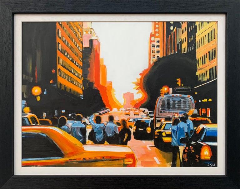 Angela Wakefield Figurative Painting - Figures at Manhattan Henge Sunset New York City by Leading British Urban Artist