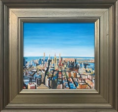 Impressionistic Aerial View of Manhattan Island New York City by British Artist