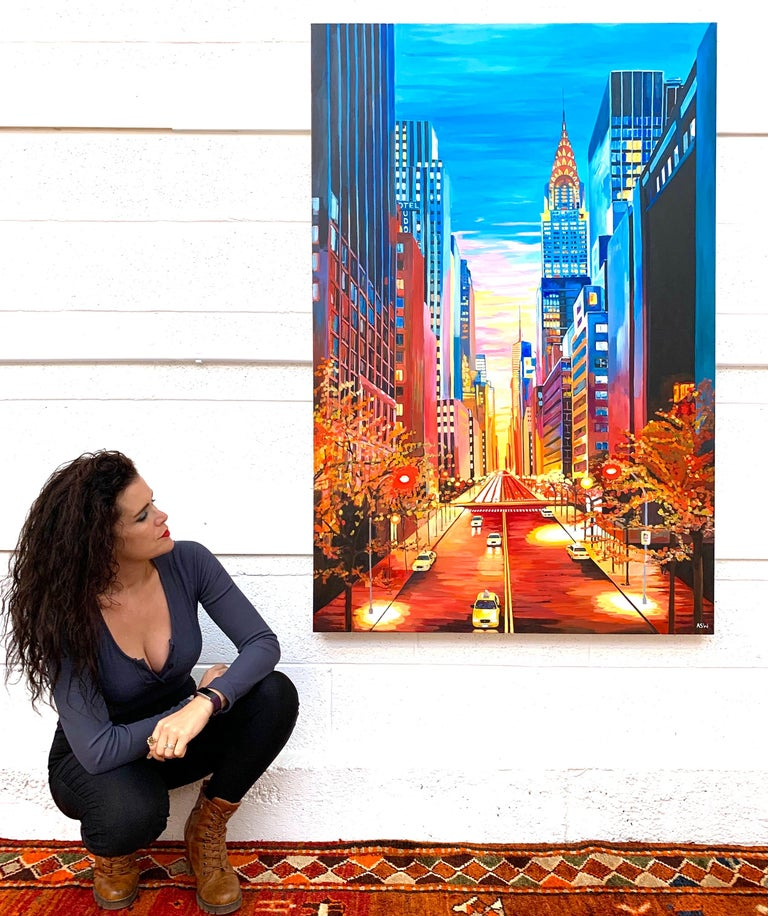 Large Painting of Chrysler Building New York City NYC by Leading British Artist - Black Landscape Painting by Angela Wakefield