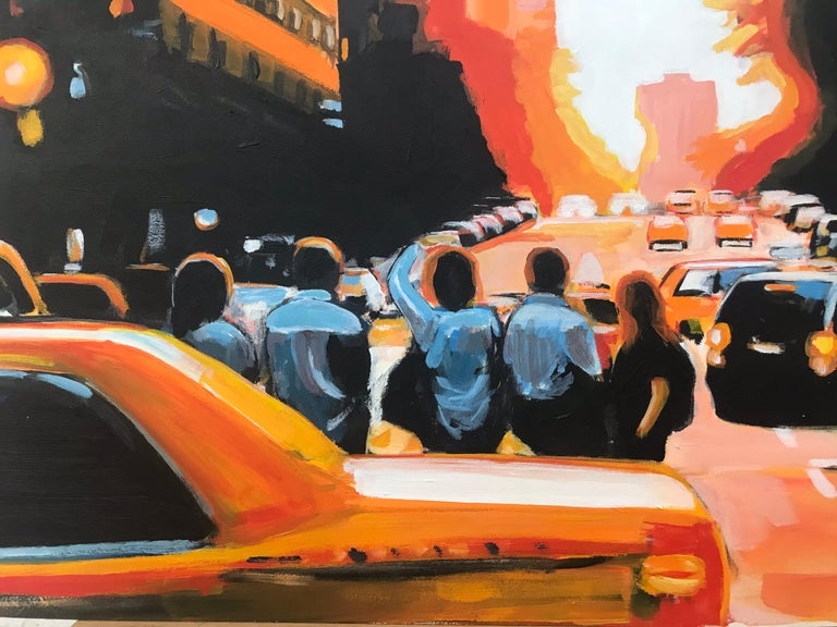 Figures at Manhattan Henge Sunset New York City by Leading British Urban Artist For Sale 6