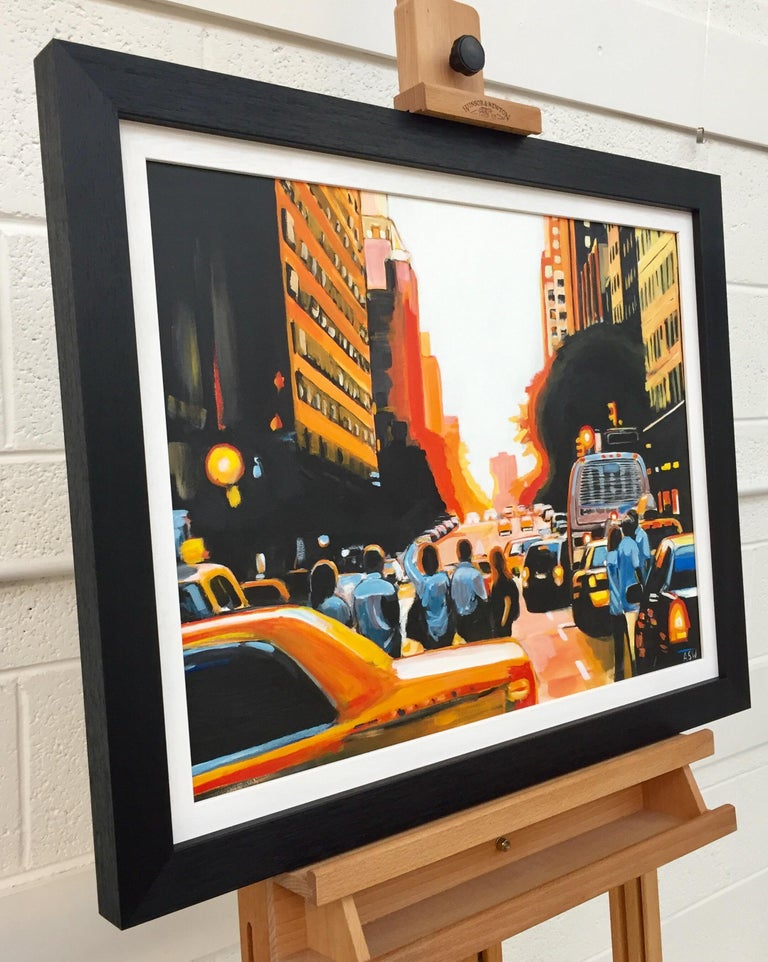Figures at Manhattan Henge Sunset New York City by Leading British Urban Artist For Sale 1