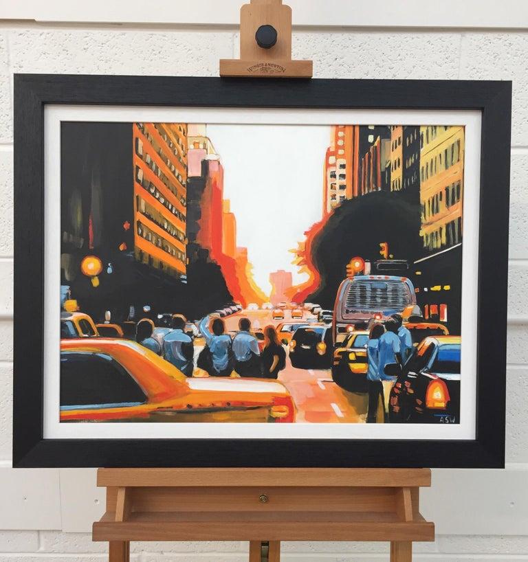 Figures at Manhattan Henge Sunset New York City by Leading British Urban Artist For Sale 2