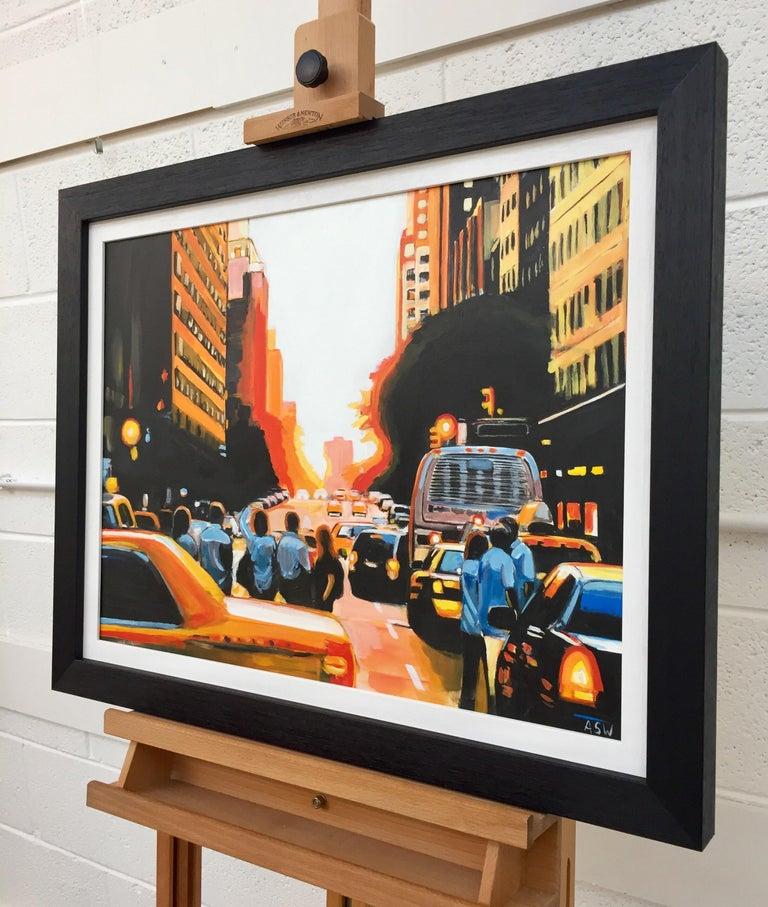 Figures at Manhattan Henge Sunset New York City by Leading British Urban Artist For Sale 3