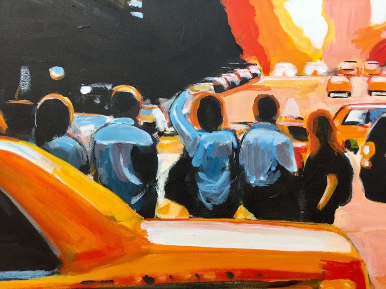 Figures at Manhattan Henge Sunset New York City by Leading British Urban Artist For Sale 8